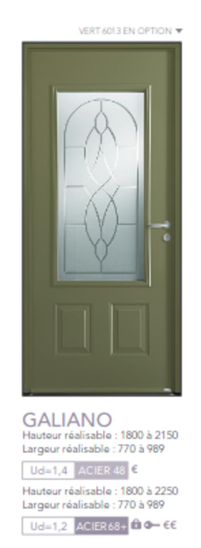 BEL''M-Expérience - Porte d''entrée - Acier verte vitrée