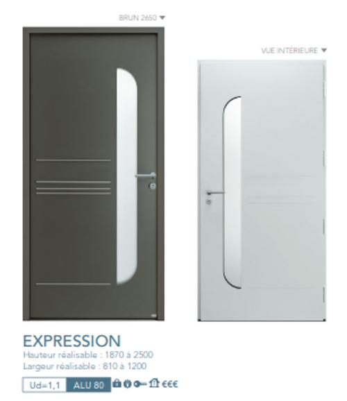 BEL''M-Expérience - Porte d''entrée - Aluminium brune vitrée