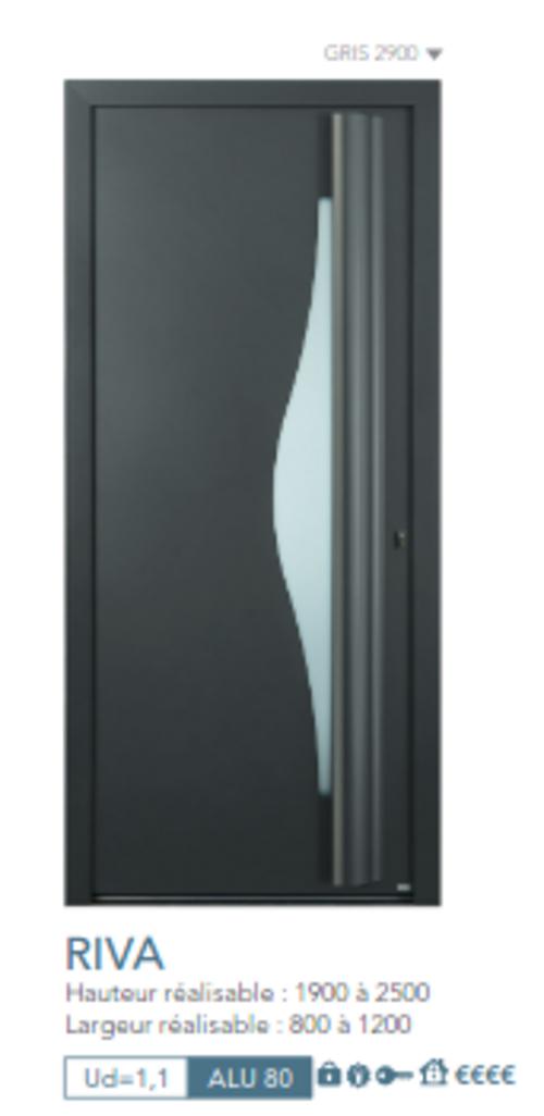 BEL''M-Expérience - Porte d''entrée - Aluminium grise vitrée