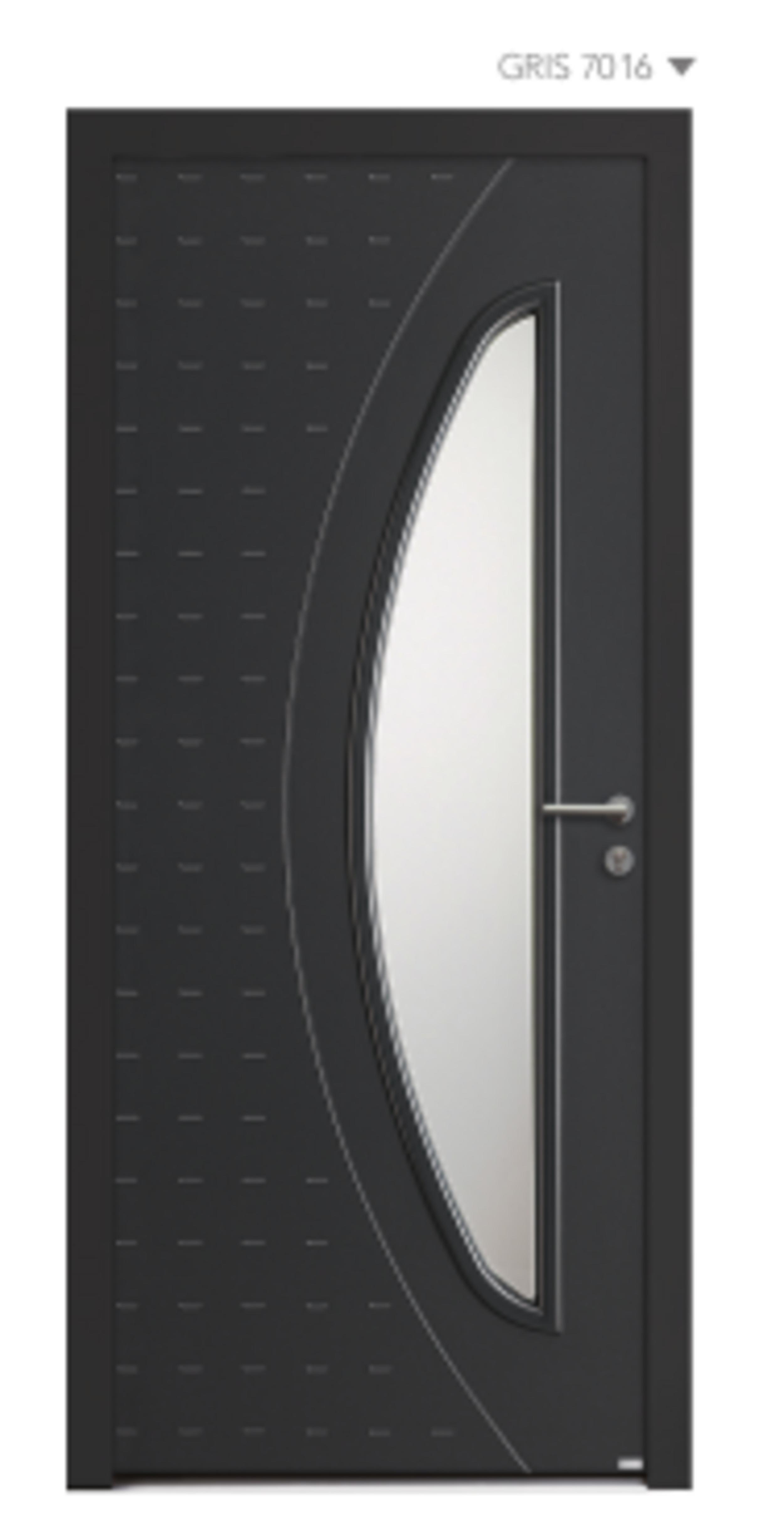 BEL''M-Expérience - Porte d''entrée gris foncée aluminium + Cadre de vitrage mouluré
