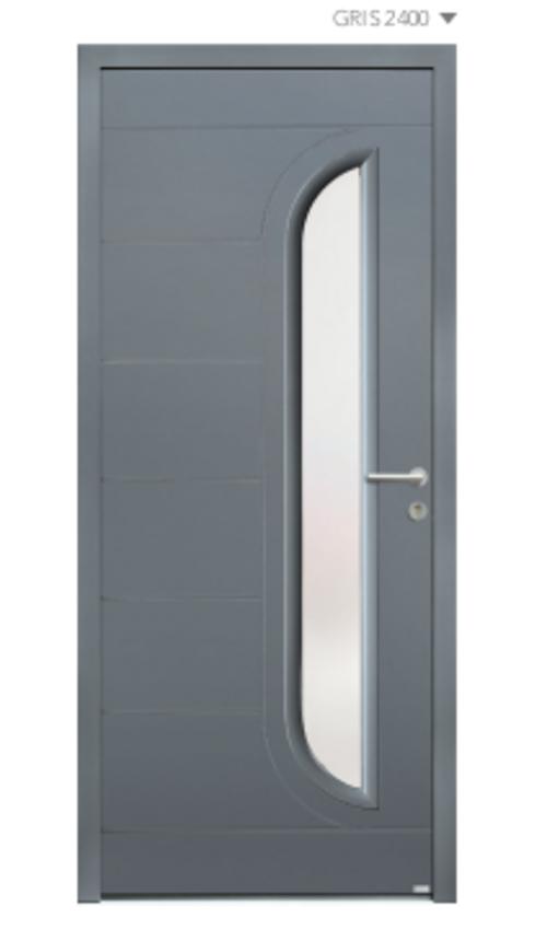BEL''M-Expérience - Porte d''entrée grise aluminium & lignes déco