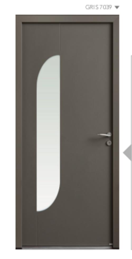 BEL''M-Expérience - Porte d''entrée grise aluminium - Vitrage épuré