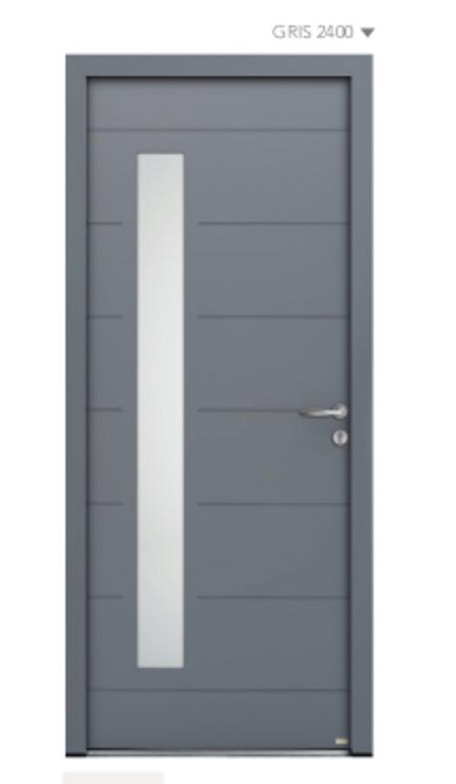 BEL''M-Expérience - Porte d''entrée grise - Déco Ligne horizontale - Aluminium