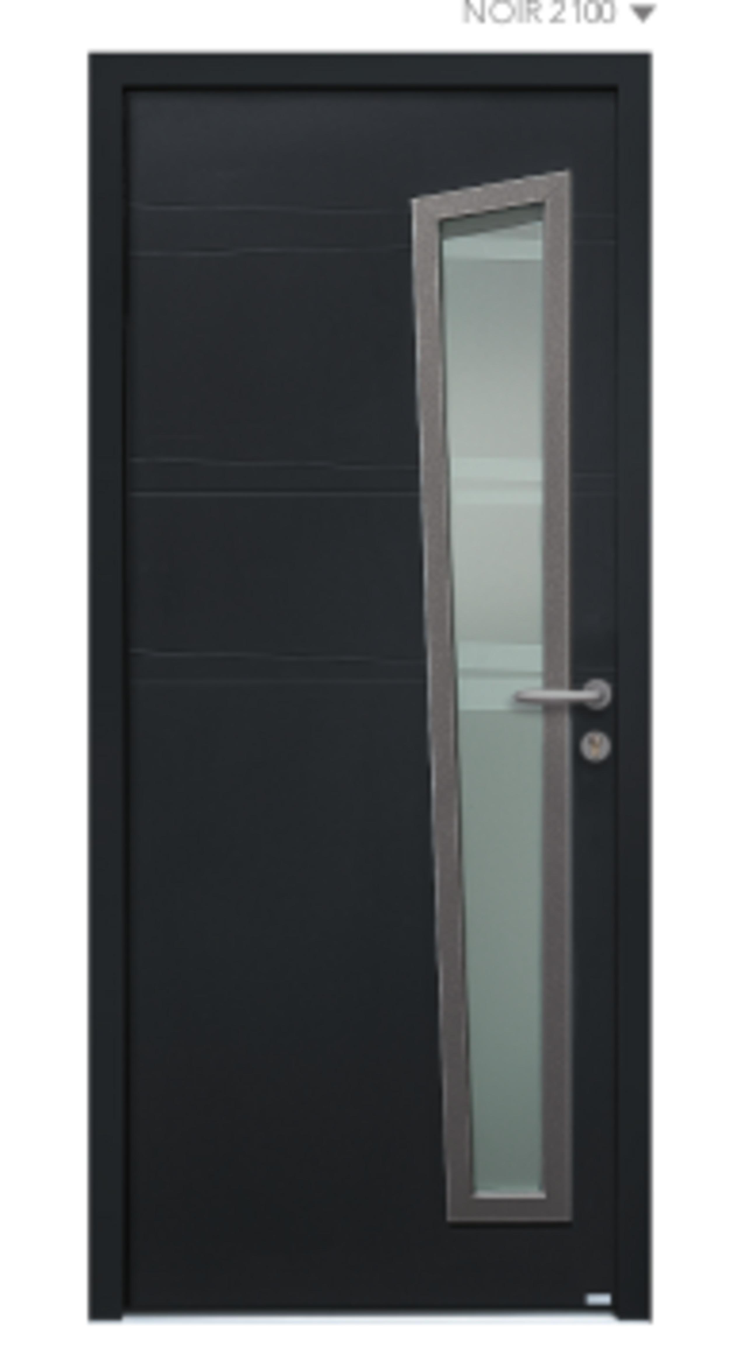 BEL''M-Expérience - Porte d''entrée noir semi vitrée aluminium