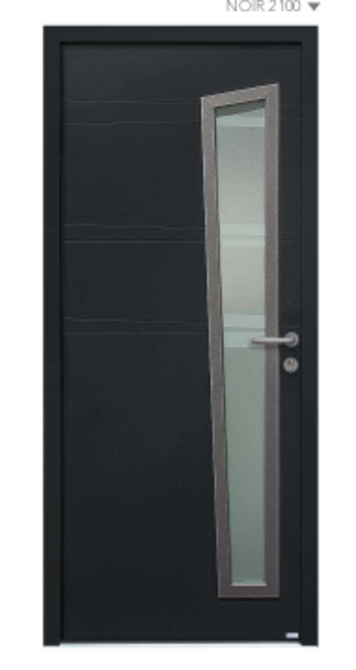 BEL''M-Expérience - Porte d''entrée noir semi vitrée aluminium 0