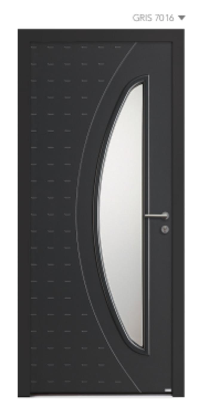 BEL''M-Expérience - Porte d''entrée gris foncée aluminium + Cadre de vitrage mouluré 0